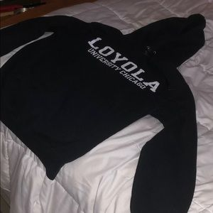 Loyola University Chicago black hooded sweater